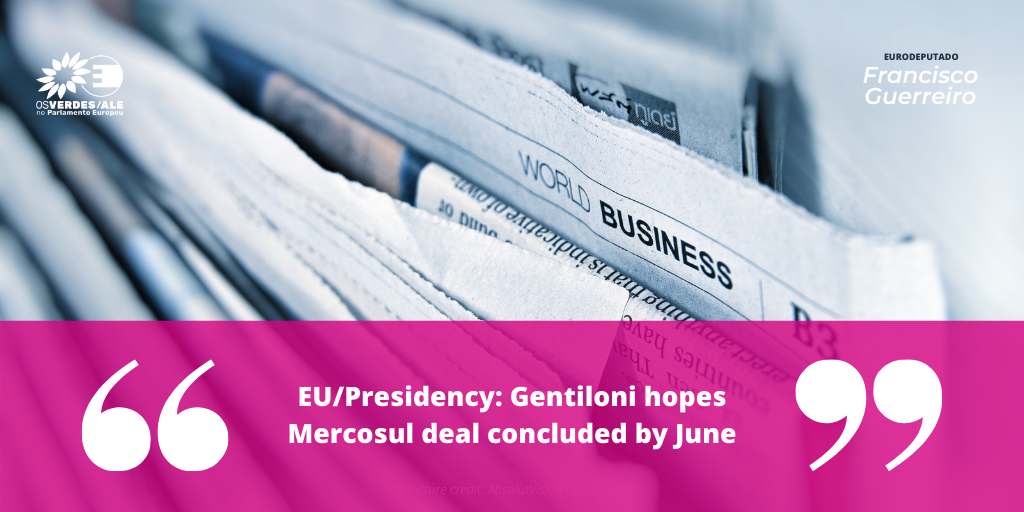 Macau business: 'EU/Presidency: Gentiloni hopes Mercosul deal concluded by June'