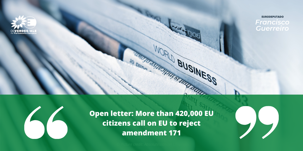 Proveg: 'Open letter: More than 420,000 EU citizens call on EU to reject amendment 171'